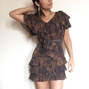 Rachel Zoe silk peacock ruffled mini dress